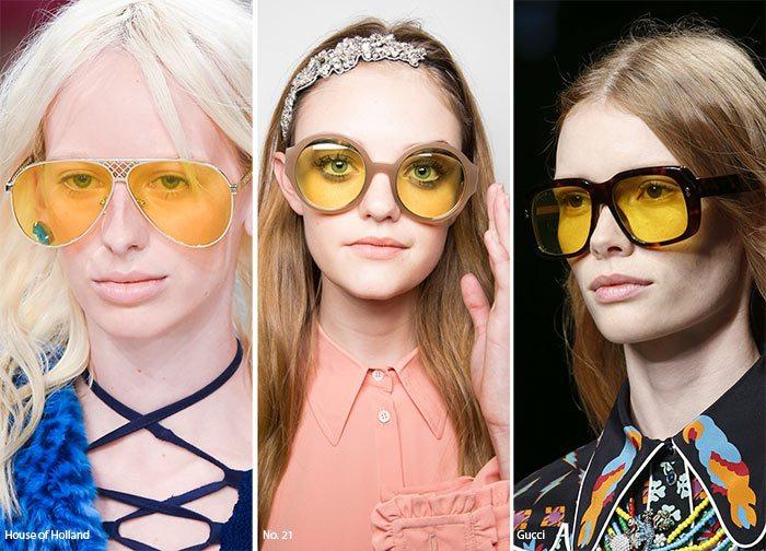 Žlutá skla brýle ženy