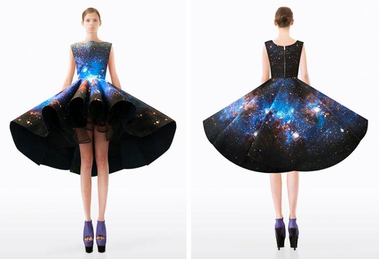 galaxy styl šaty