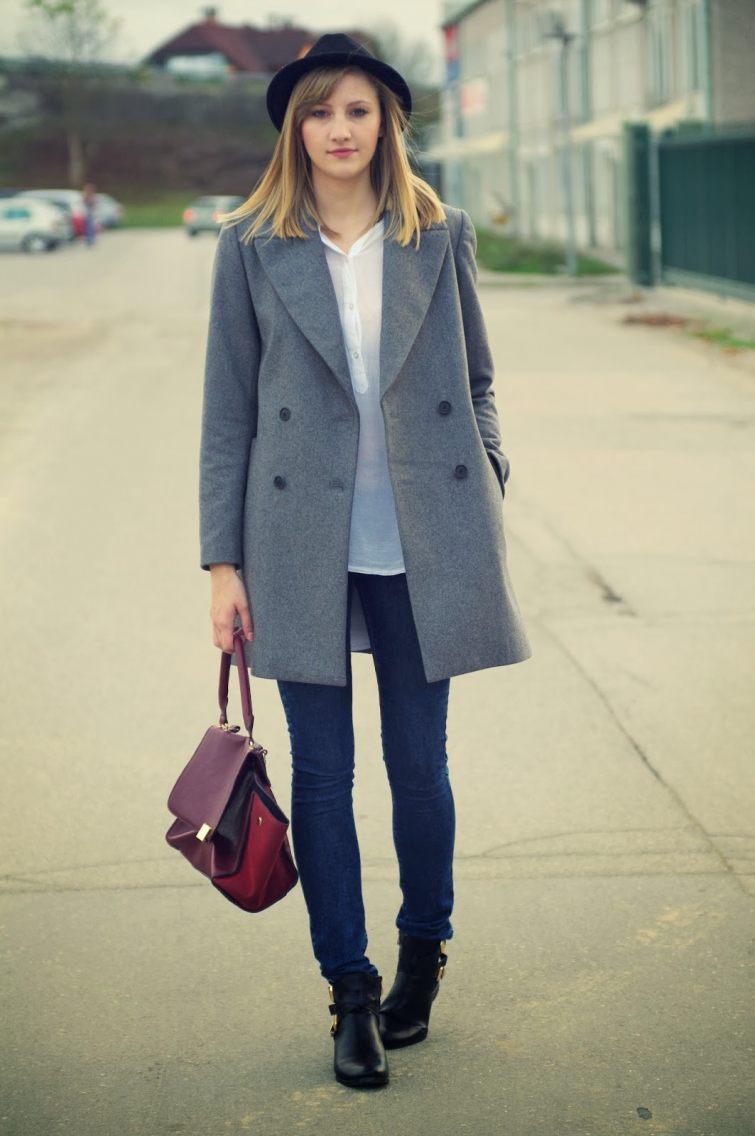 oversized kabát a skinny džíny