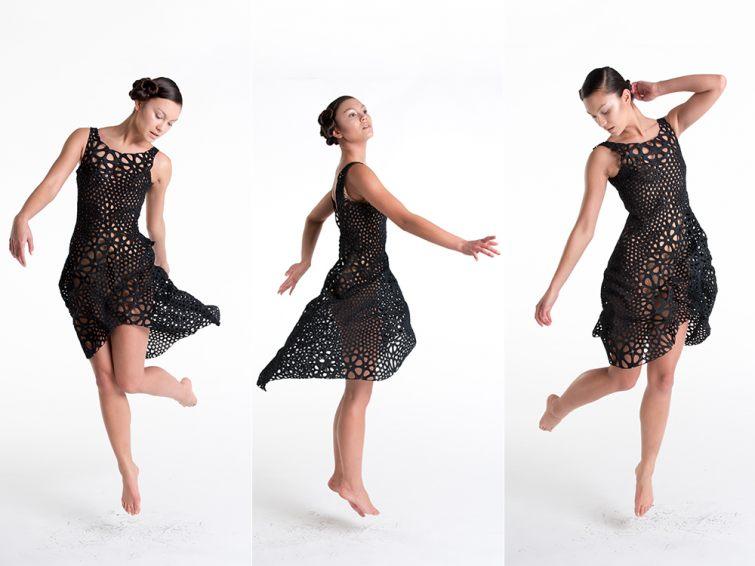 Černé dásmké šaty ve 3D