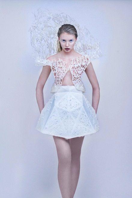Dámské šaty ve 3D tisku od Francise Bitonti, zdroj: www.core77.com