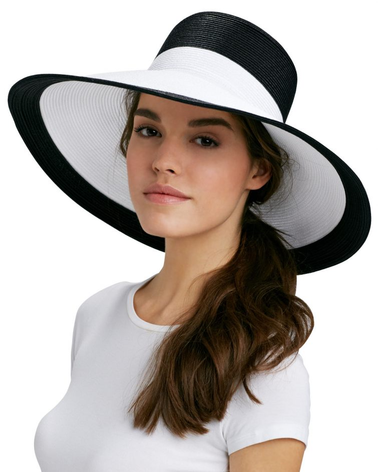 Černo-bílý dámský klobouk
