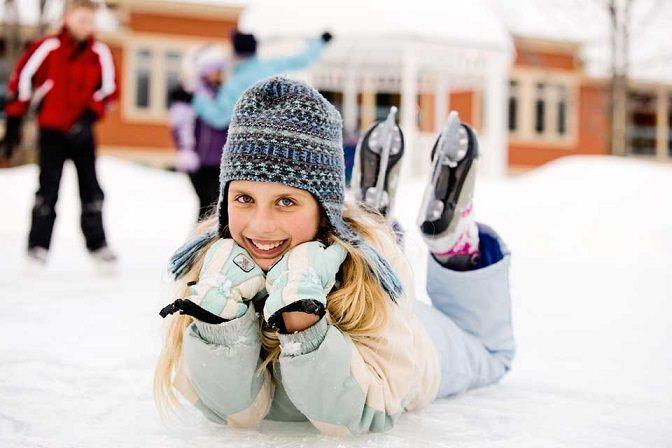 Zimní outfit na bruslení - teplé kalhoty a bunda