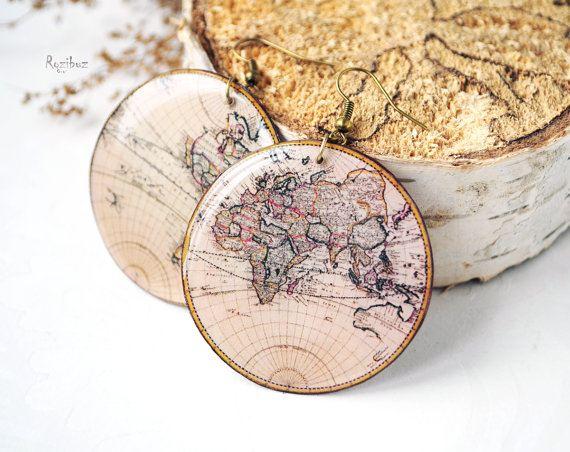 Náušničky s historickou mapou světa