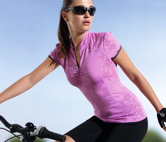Cyklistický růžový dres s květinami