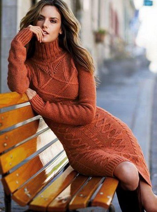 Pletené šaty na zimu oranžové
