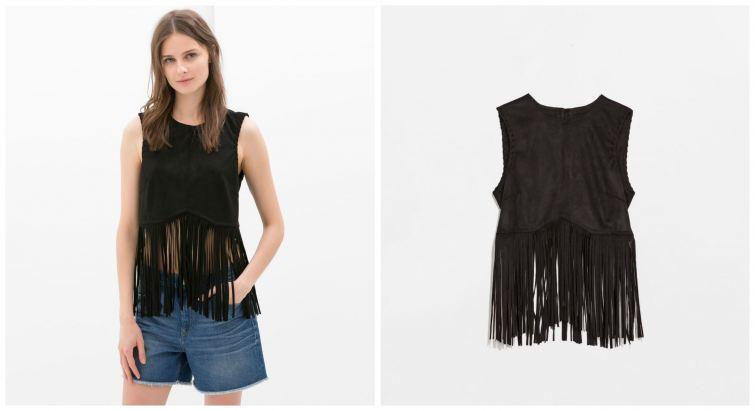 černé triko s třásněmi