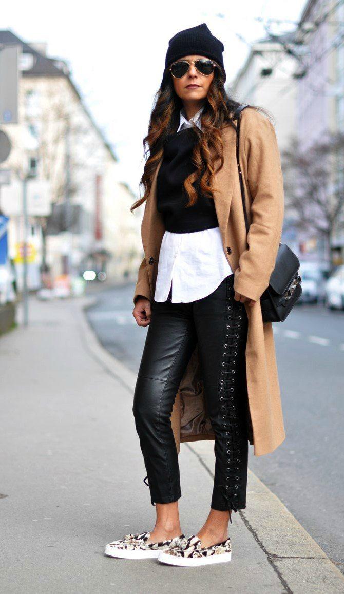 béžový kabát s koženkou