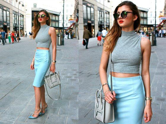 sukně s vyšším pasem a crop top