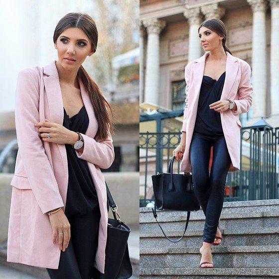 růžový kabát pro ženy
