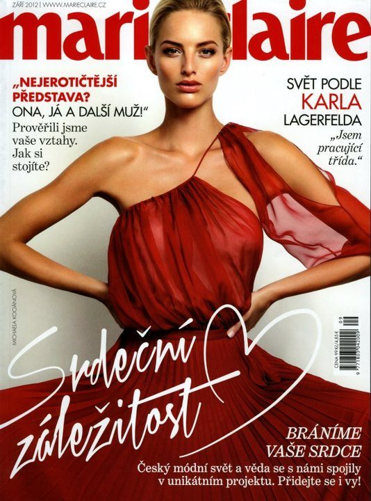 zářijové vydání časopisu Marie Claire a na titulku šaty od Ivany Mentlové
