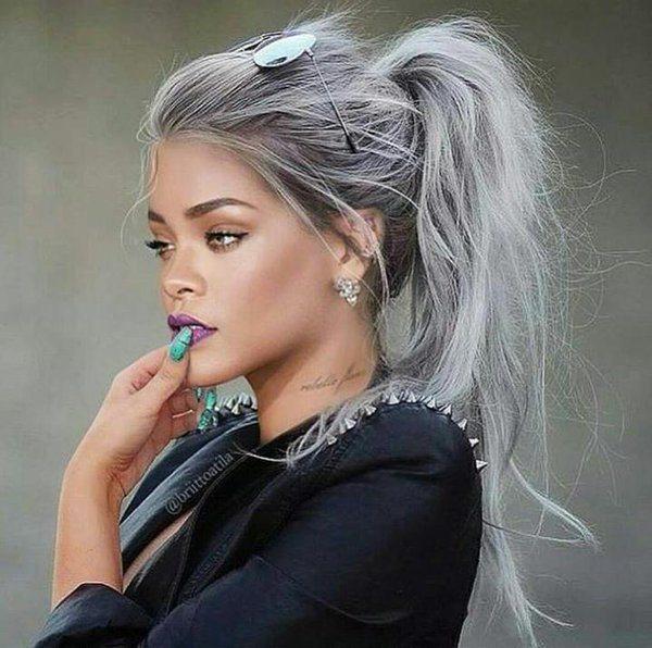 šedivé vlasy Rihanna