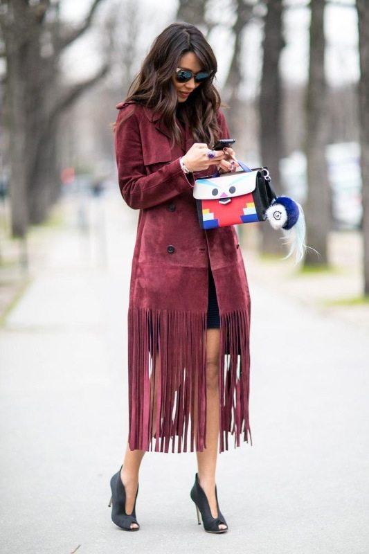 bordový semišový kabát trendy 2015 2016