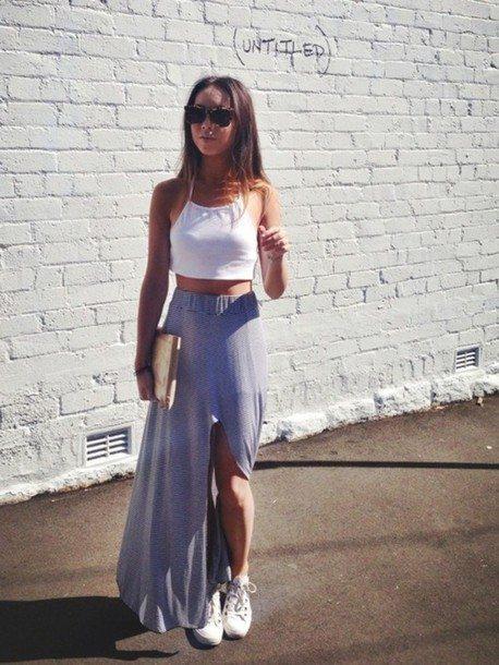 crop top s dlouhou sukní
