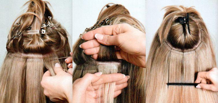 prodlužování vlasů pomocí lepících pásků