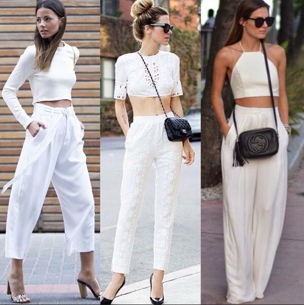 široké dlouhé kalhoty bílé