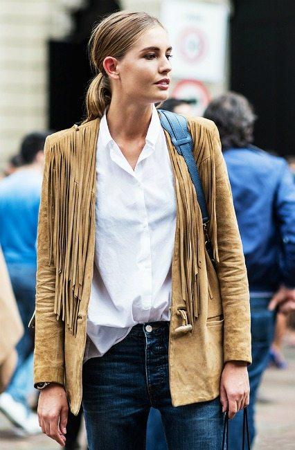 semišová bunda s třásněmi