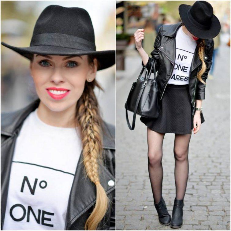 Beauty blogerka Petra Lovelyhair, černý křivák-černý klobouk-sukně do pasu