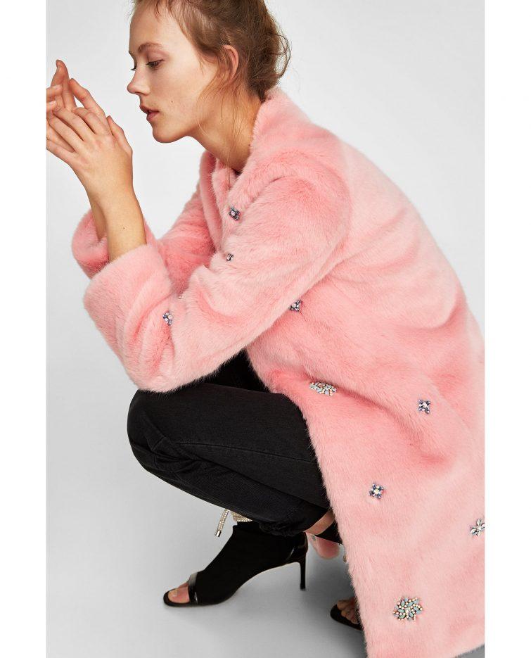 růžový kožich Zara