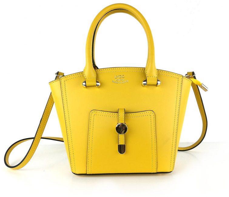 LYDC kožená žlutá kabelka