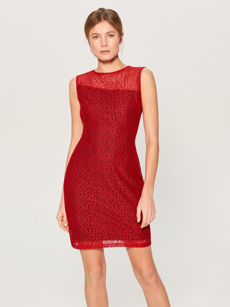 červené šaty 2019 elegantní
