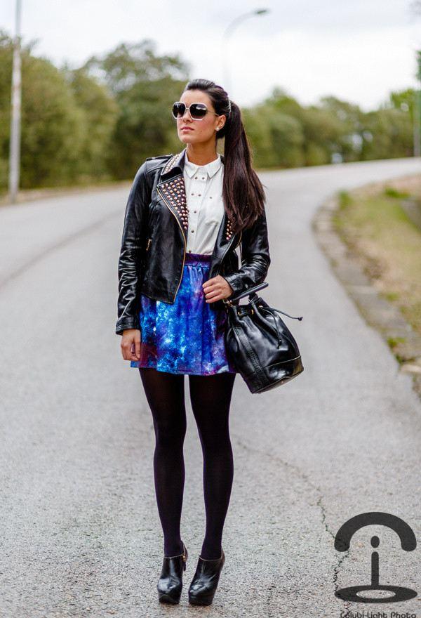 outfit galaxy styl sukně