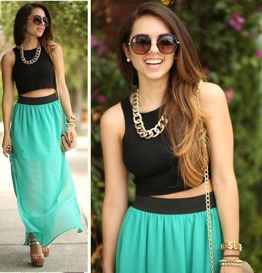 Crop top a maxi skirt, módní trendy pro léto 2014