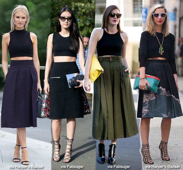 Crop top a midi skirt, módní trendy pro léto 2014. © Zdroj: www.hercampus.com