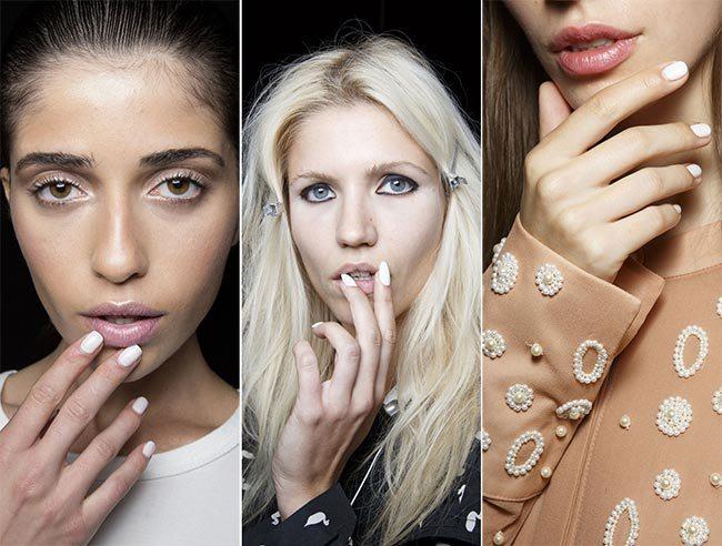 bílé nehty trendové jarní letní 2015
