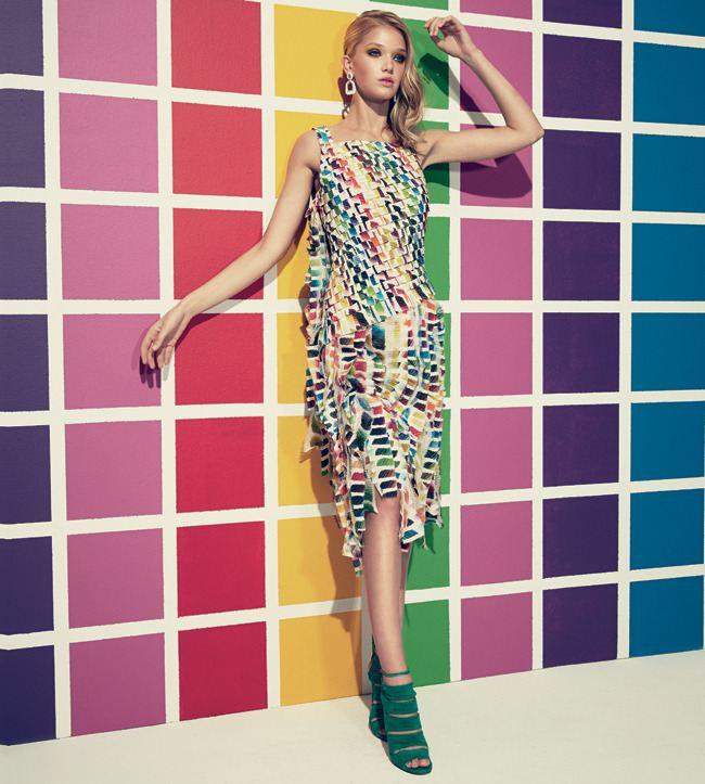 Pop - artové krepované šaty Chanel