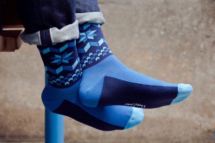 Modré ponožky se vzorem vločky