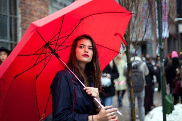 červený deštník