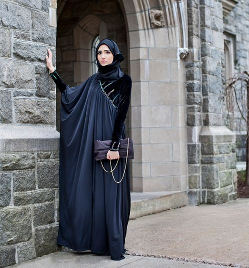 arabská móda modré šaty