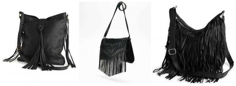 černé kabelky třásně