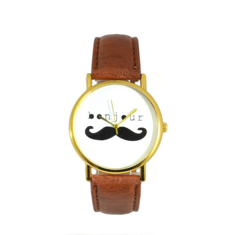 Moustache hodinky Bonjour