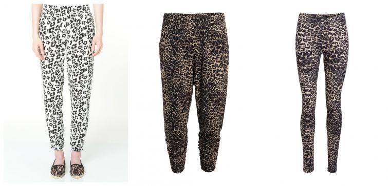 kalhoty leopardí potisk