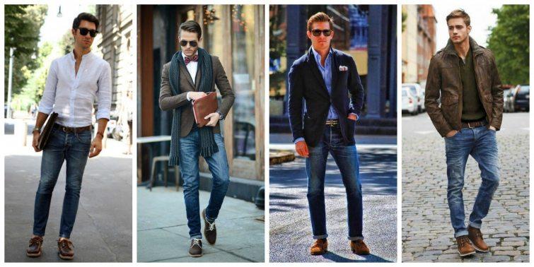 Muži džíny sako košile