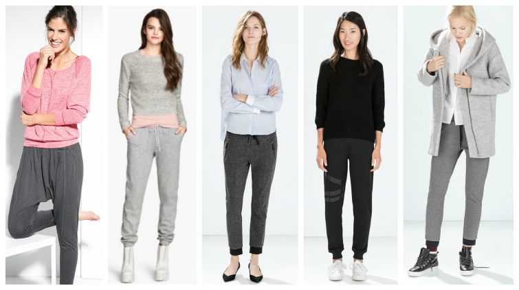 Tepláky koláž značek Mango, H&M, Zara