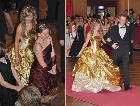 módní peklo plesové šaty