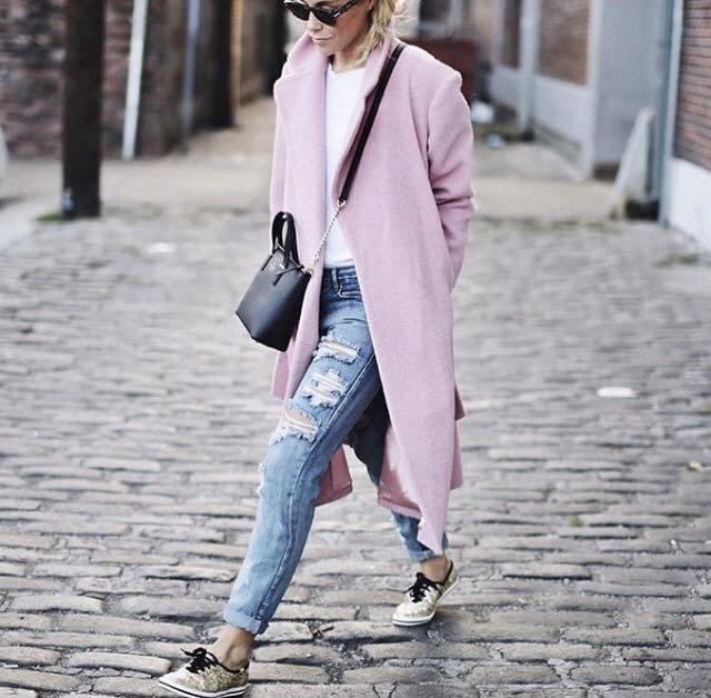 růžový kabát dámský