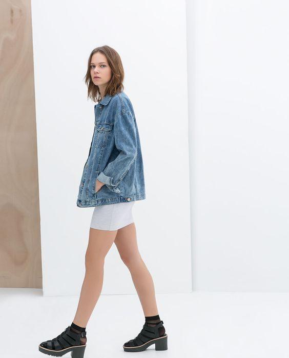 džínsová dámská bunda oversized