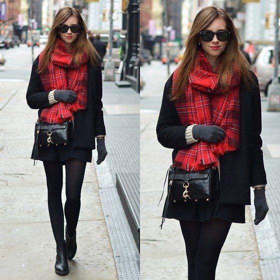 červeno černý šál