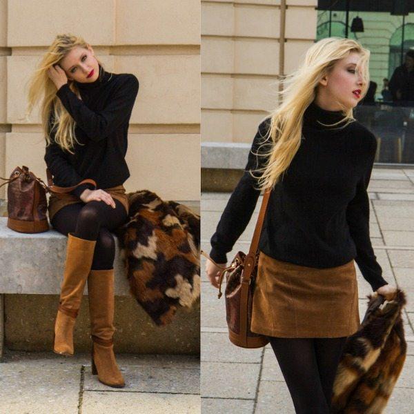 semišová sukně trendy podzim