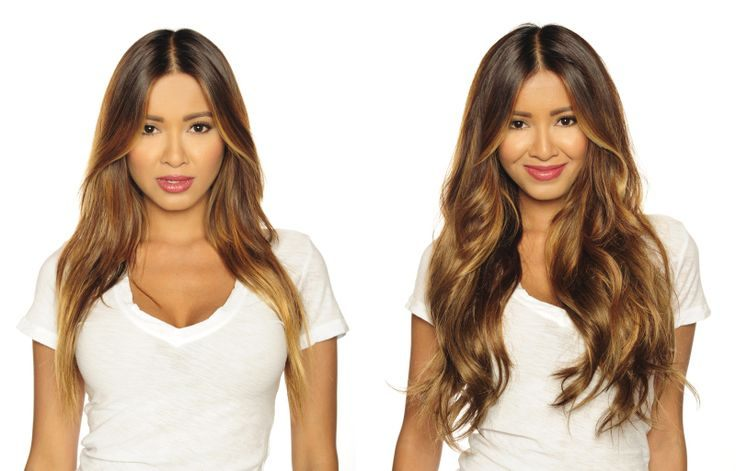 před a po clip in vlasy