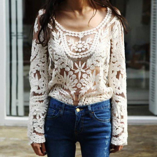 krajkový tuniky bílé