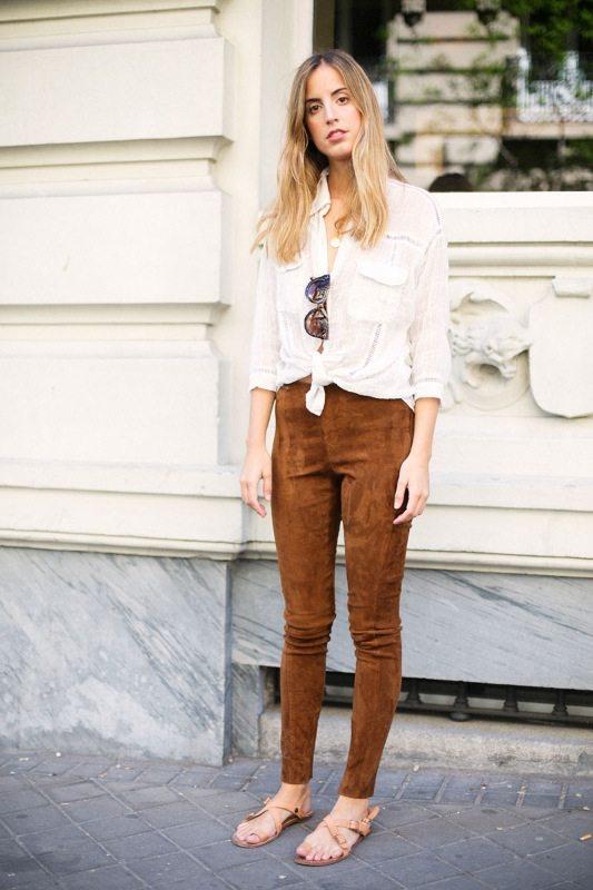 trendy kalhoty dámské semiš