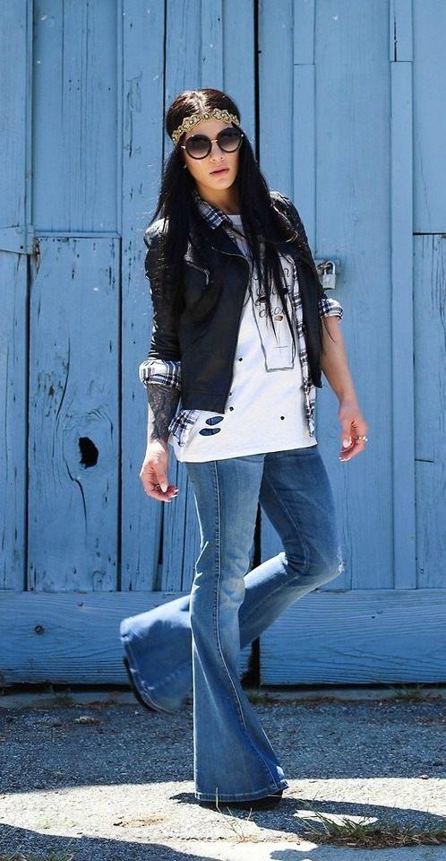 zvonové kalhoty retro outfit hippie