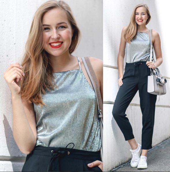 Nicole Ehrenbergerová z A Cup of Style, třpytivý top a volné kalhoty